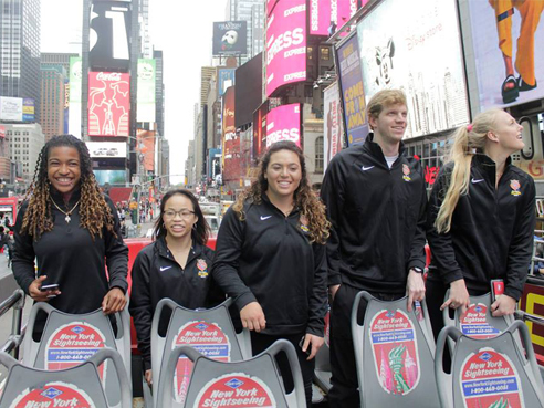 Day 1 of AAU Sullivan Award tour in New York City